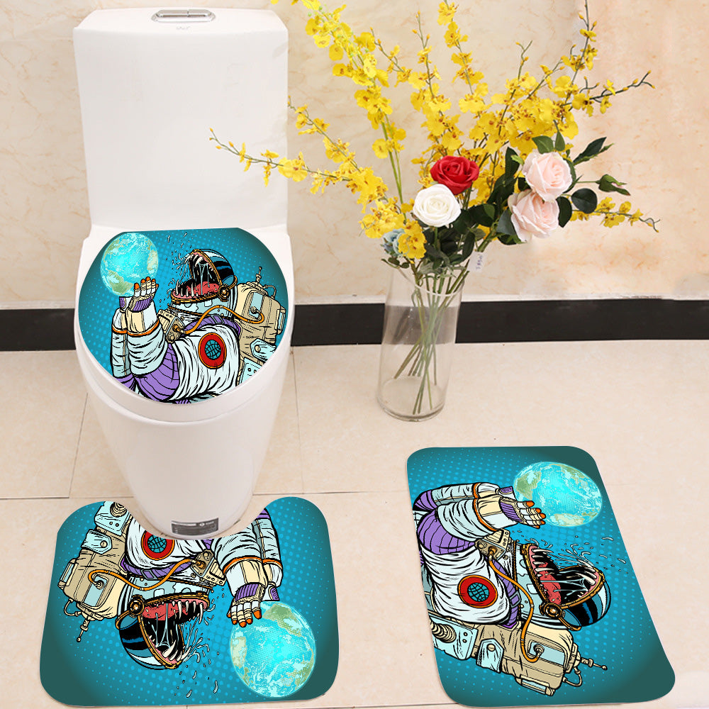 Astronaut monster eats earth 3 Piece Toilet Cover Set