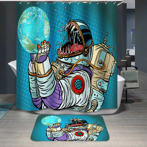 Astronaut monster eats earth Shower Curtain