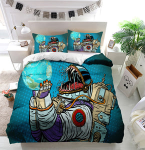 Astronaut monster eats earth Duvet Cover Bedding Set