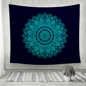Bohemian Indian Mandala black and blue Wall Tapestry