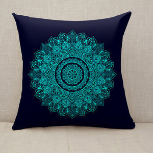 Bohemian Indian Mandala black and blue Throw Pillow [With Inserts]