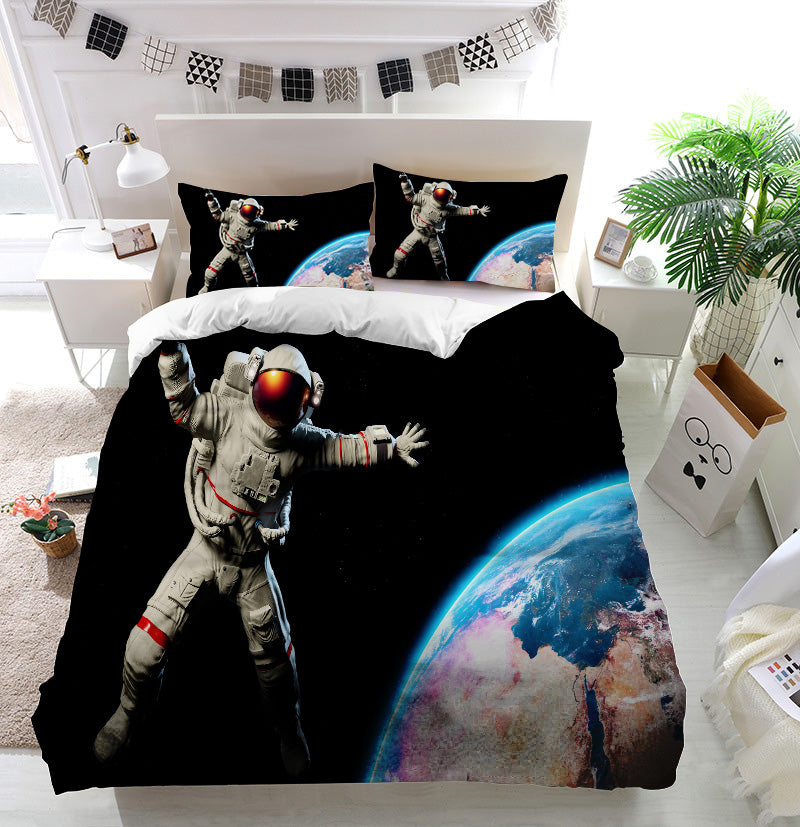 Astronaut in Outer Space Duvet Cover Bedding Set