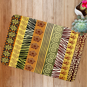 African fabric in earthtones Bath Mat