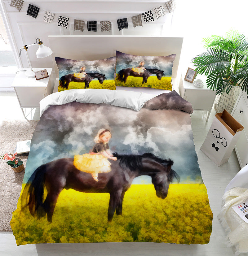 Friendship horse and little girl Duvet Cover Bedding Set