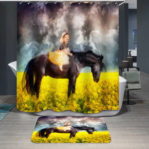 Friendship horse and little girl Shower Curtain