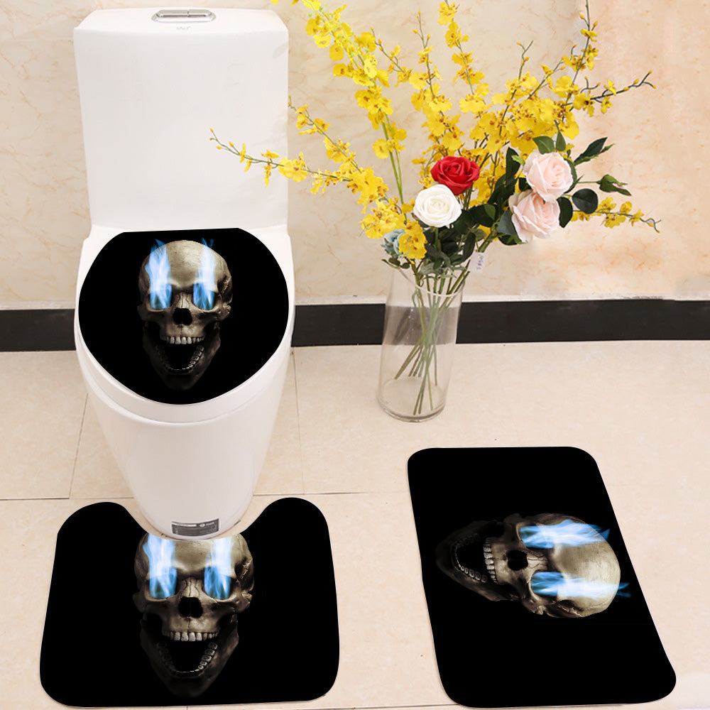 Skull with blue flaming eye 3 Piece Toilet Cover Set