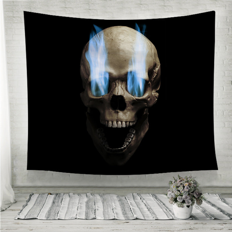 Skull with blue flaming eye Wall Tapestry