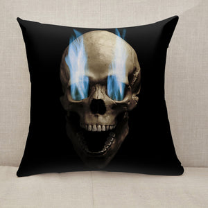 Skull with blue flaming eye Throw Pillow [With Inserts]