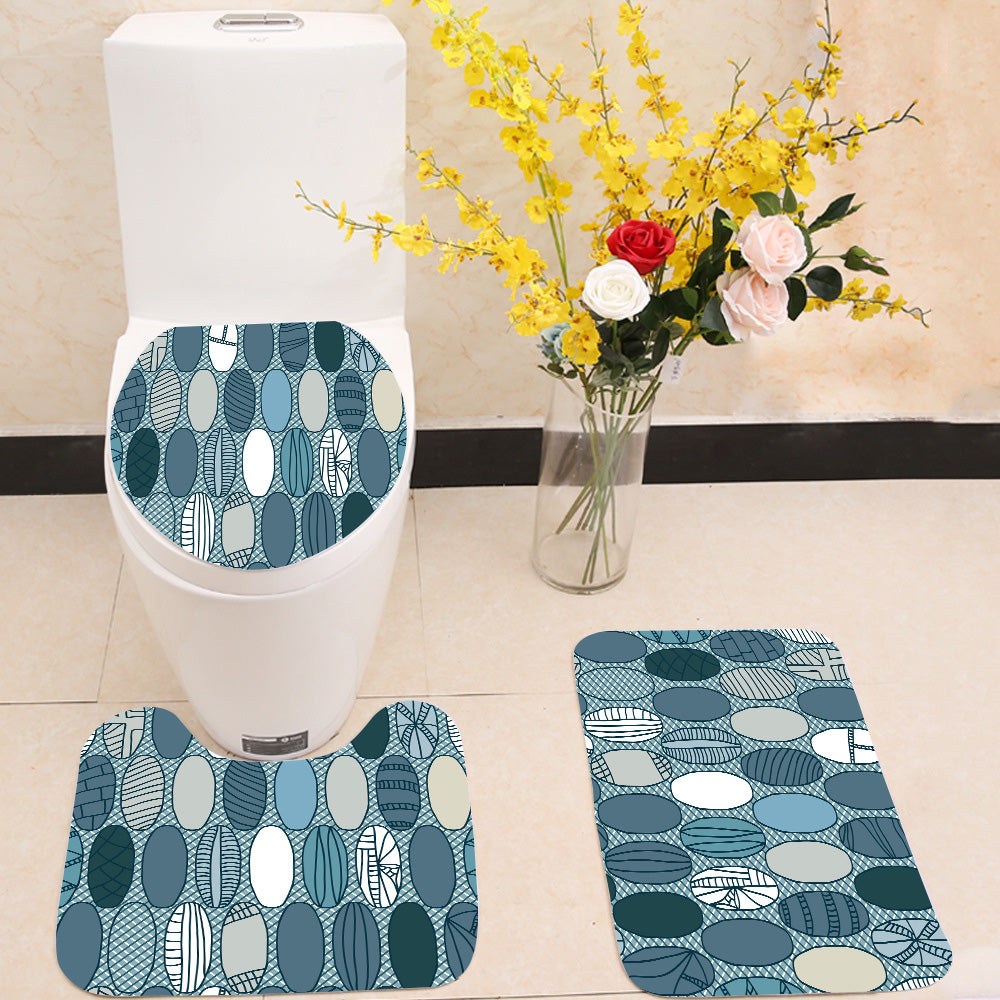 Japanese Rugby Ball 3 Piece Toilet Cover Set