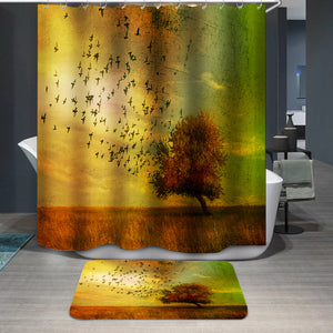 Grunge fantasy landscape Shower Curtain