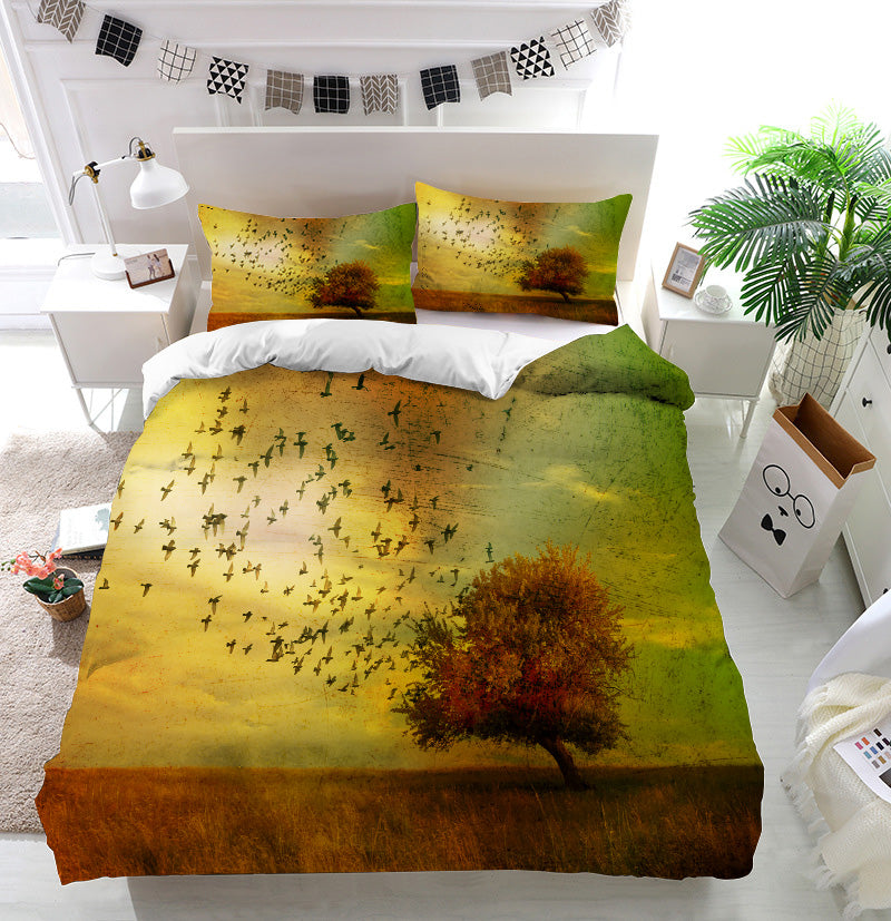 Grunge fantasy landscape Duvet Cover Bedding Set