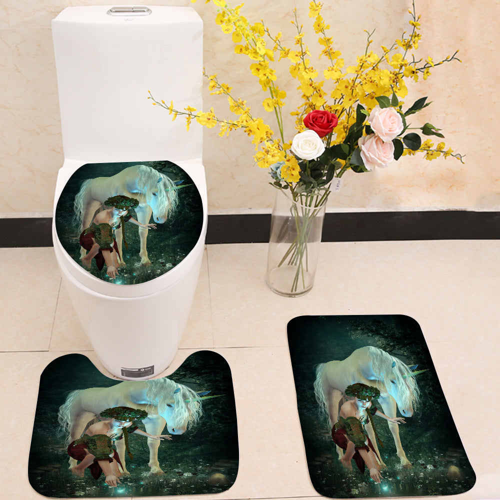 At the Pond unicorn girl 3 Piece Toilet Cover Set