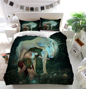 At the Pond unicorn girl Duvet Cover Bedding Set