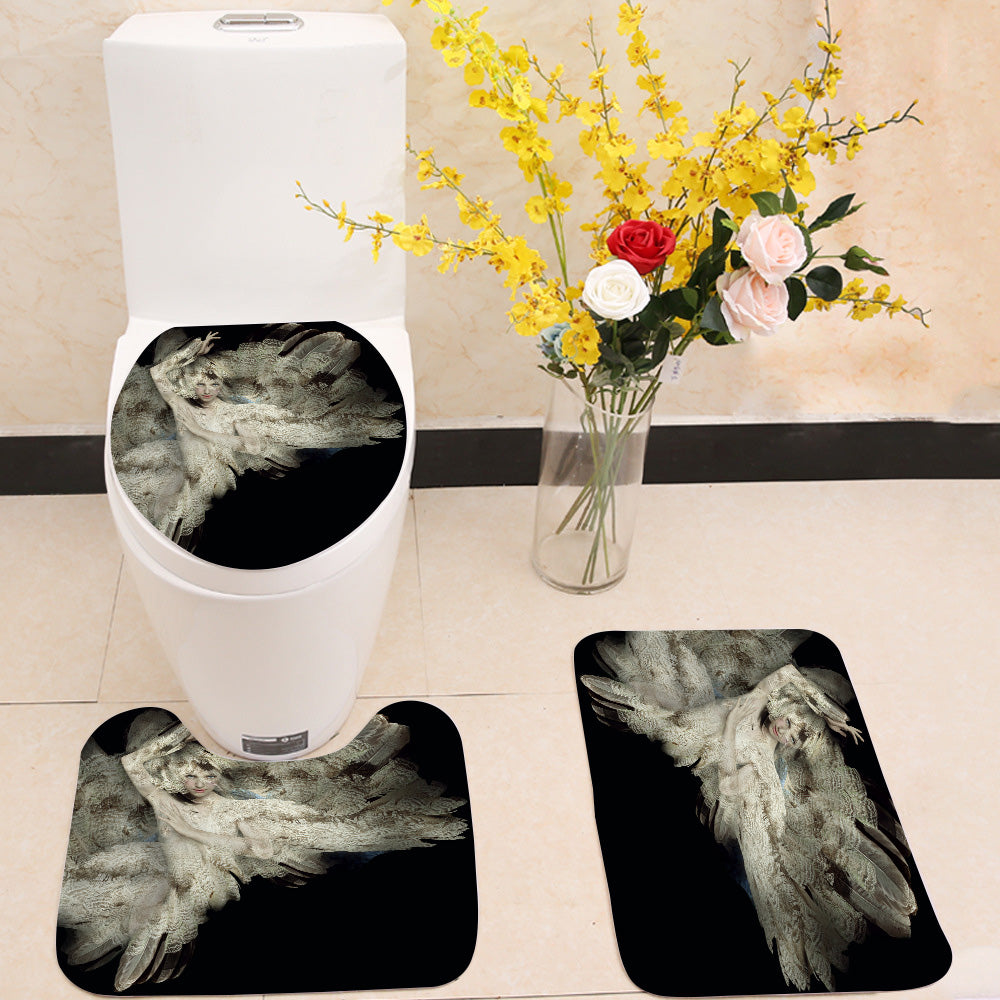 Plumage girl 3 Piece Toilet Cover Set