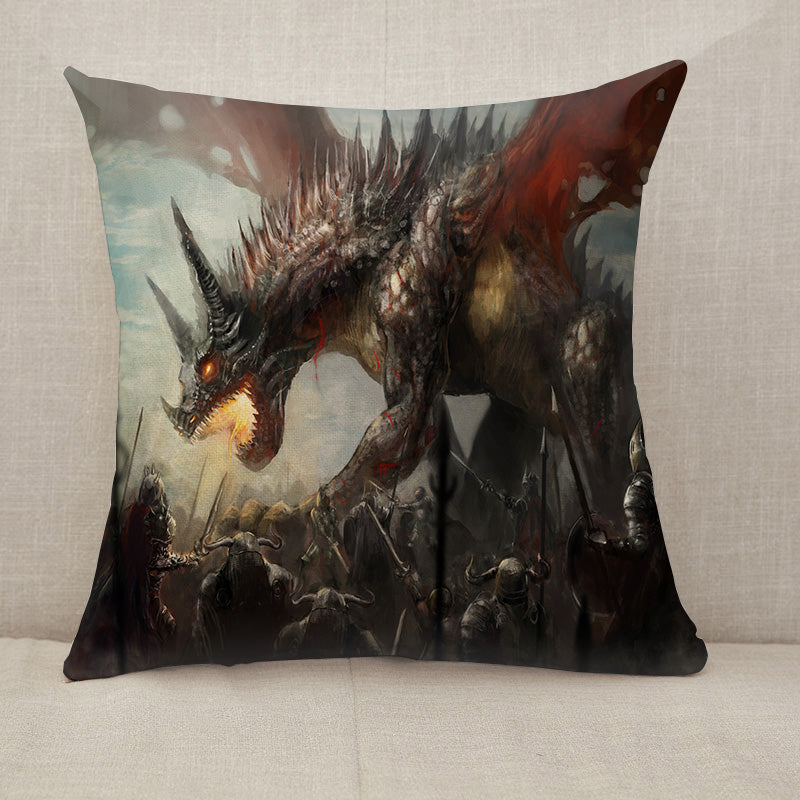 Knights hunting dragon Throw Pillow [With Inserts]