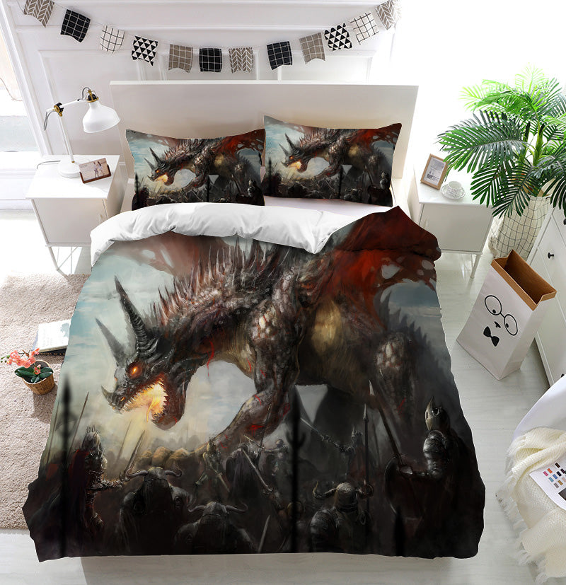 Knights hunting dragon Duvet Cover Bedding Set