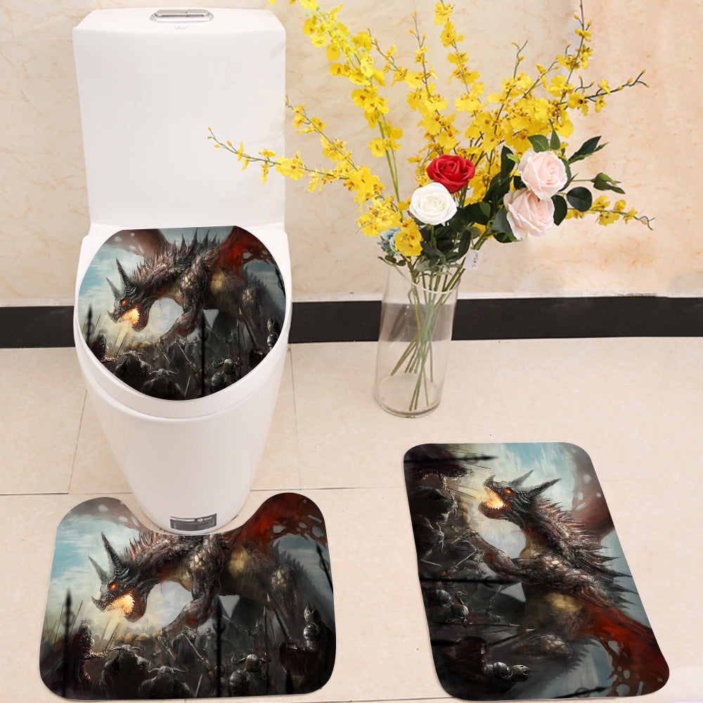 Knights hunting dragon 3 Piece Toilet Cover Set