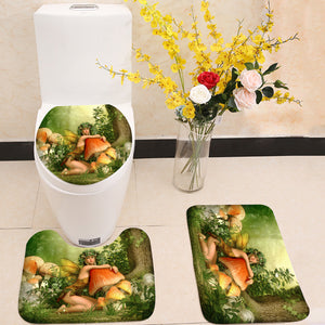 Enchanted wood fairy girl 3 Piece Toilet Cover Set