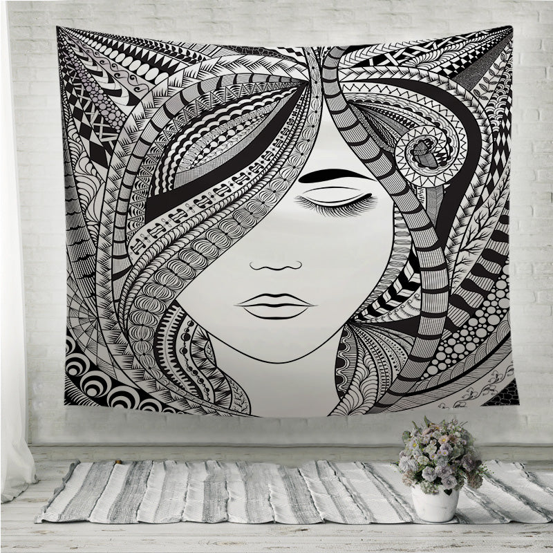 Abstract hair girl Wall Tapestry