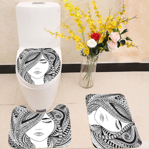 Abstract hair girl 3 Piece Toilet Cover Set