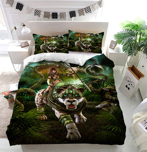 Girl and saber-tooth tiger Duvet Cover Bedding Set
