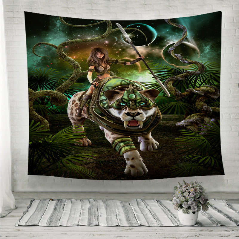 Girl and saber-tooth tiger Wall Tapestry