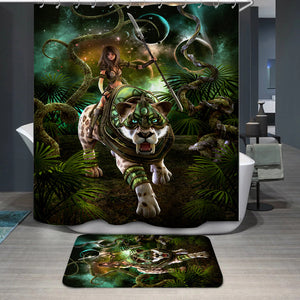 Girl and saber-tooth tiger Shower Curtain
