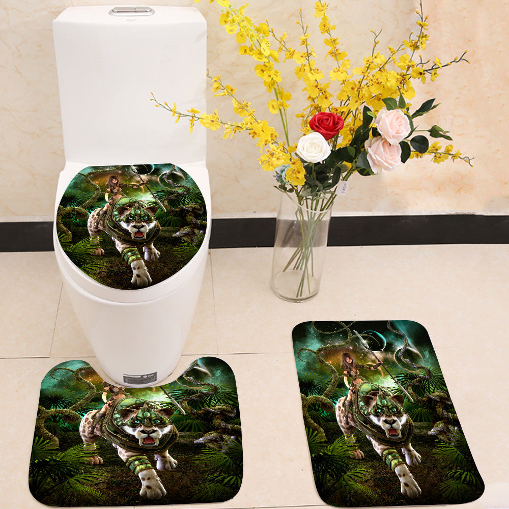 Girl and saber-tooth tiger 3 Piece Toilet Cover Set