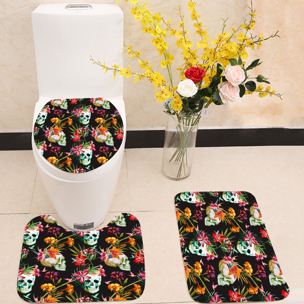 Skull and flowers pattern 3 Piece Toilet Cover Set
