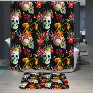 Skull and flowers pattern Shower Curtain