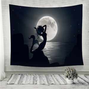 Mermaid mythical night Wall Tapestry