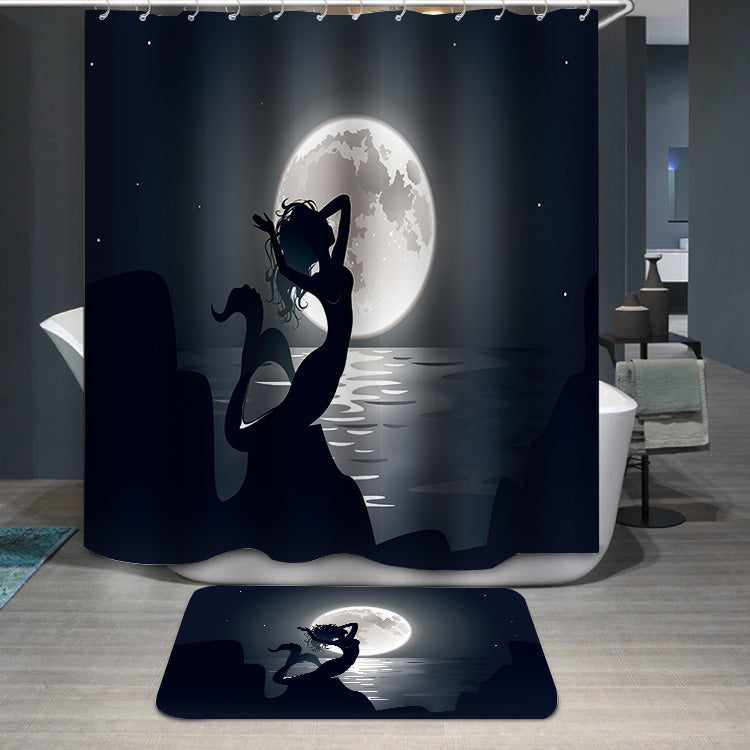 Mermaid mythical night Shower Curtain