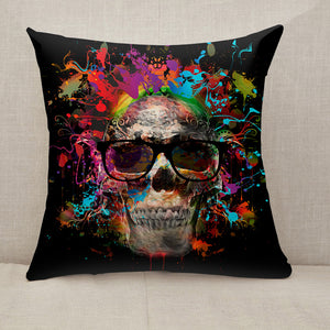 Colorful skull Throw Pillow [With Inserts]
