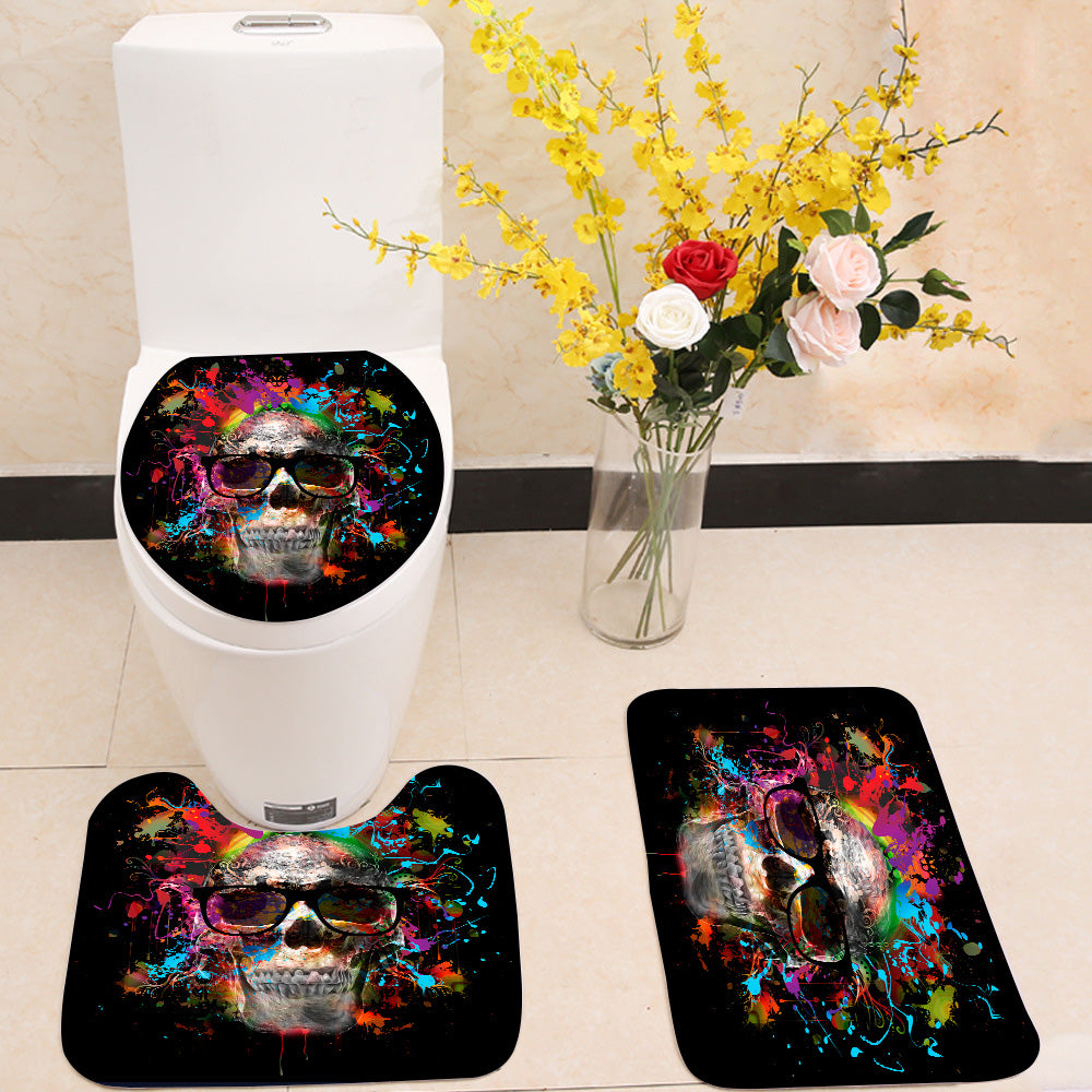 Colorful skull 3 Piece Toilet Cover Set