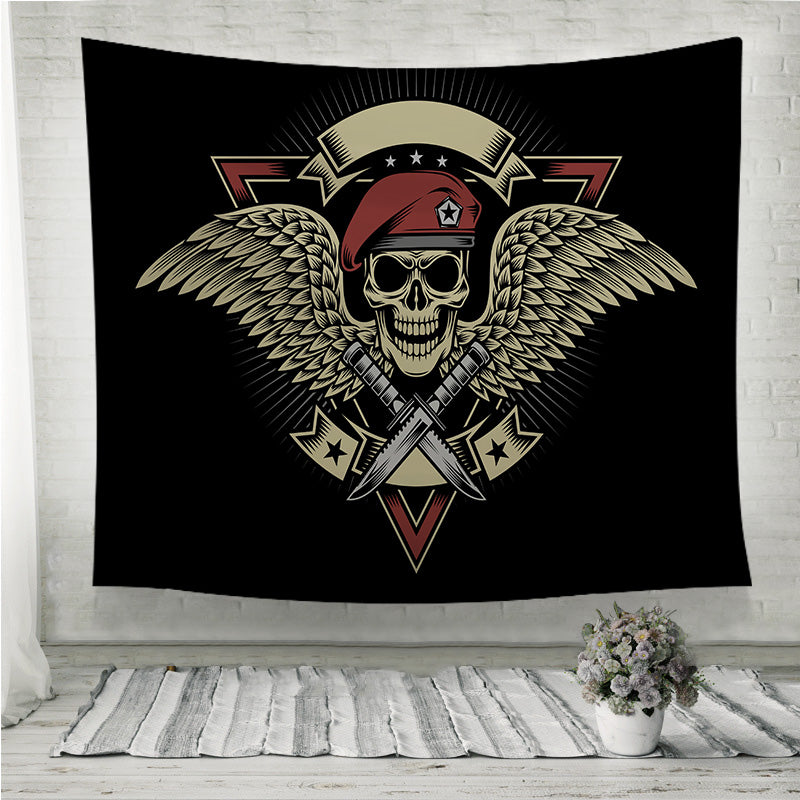 Military Skull with Wings and Daggers Wall Tapestry