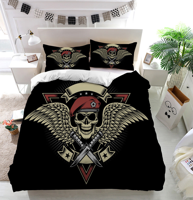 Military Skull with Wings and Daggers Duvet Cover Bedding Set