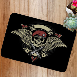 Military Skull with Wings and Daggers Bath Mat