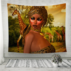 African Woman in Leopard Print Wall Tapestry