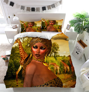African Woman in Leopard Print Duvet Cover Bedding Set