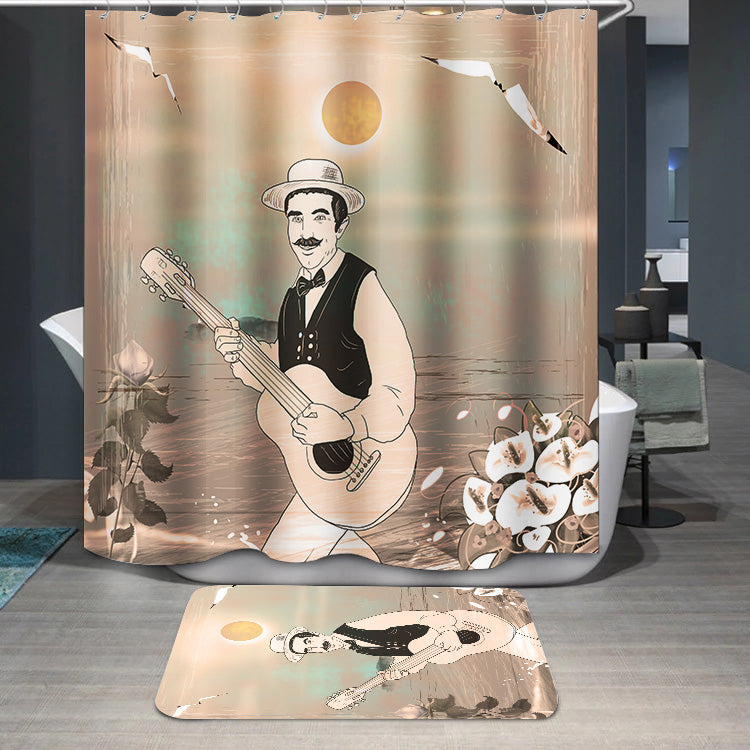 Guitarist musician retro Shower Curtain