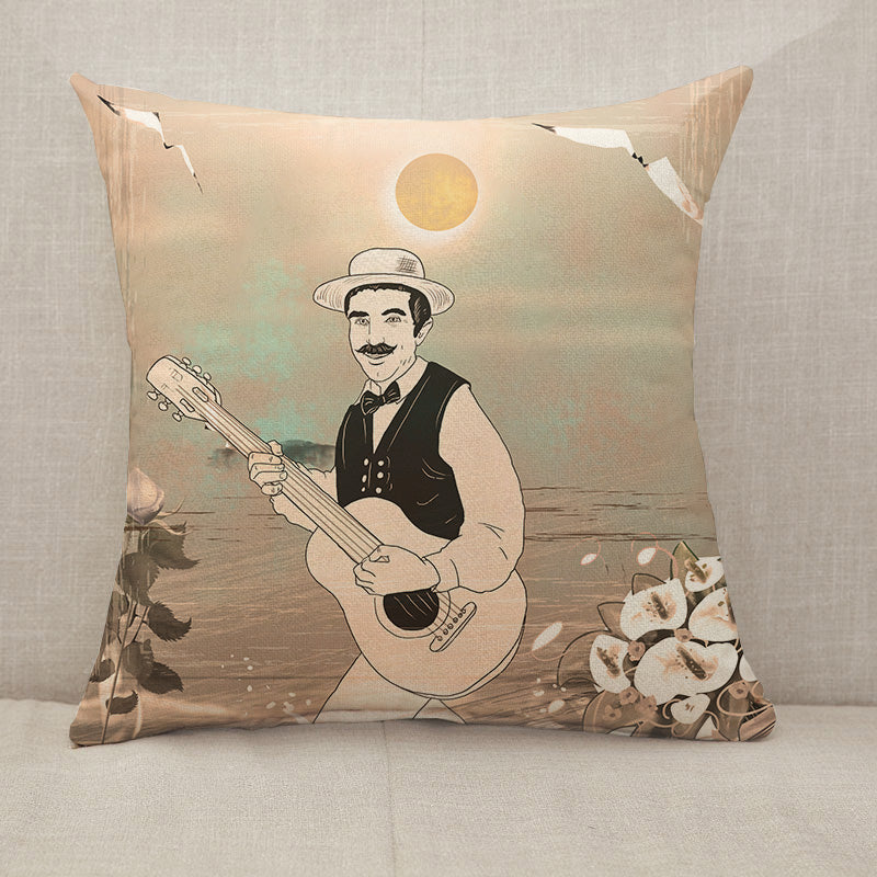 Guitarist musician retro Throw Pillow [With Inserts]