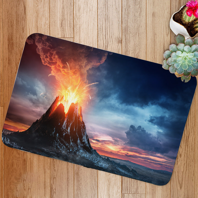 Volcanic Mountain In Eruption Bath Mat