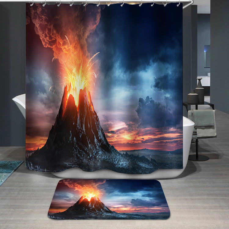 Volcanic Mountain In Eruption Shower Curtain