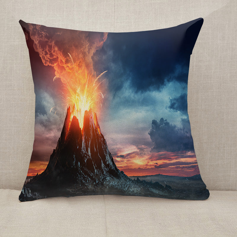 Volcanic Mountain In Eruption Throw Pillow [With Inserts]