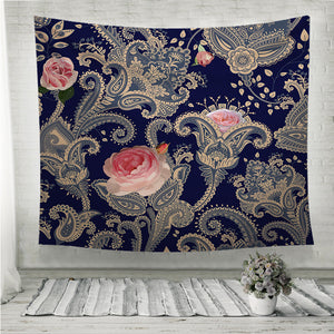 Indian floral backdrop Wall Tapestry