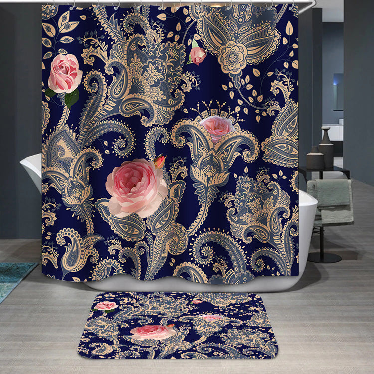 Indian floral backdrop Shower Curtain