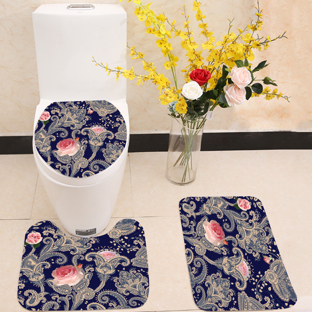 Indian floral backdrop 3 Piece Toilet Cover Set
