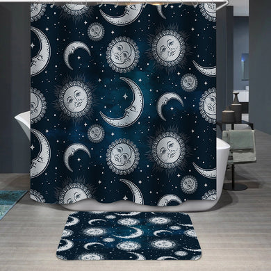 Boho sun and moon Shower Curtain