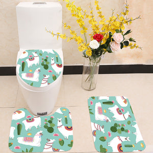 Alpaca llama and cactus 3 Piece Toilet Cover Set
