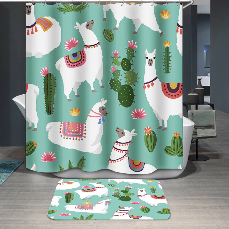 Alpaca llama and cactus	 Shower Curtain